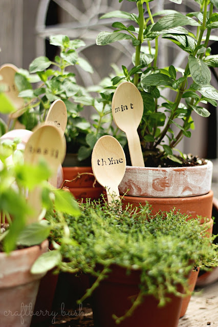 Wooden spoon herb markers craftberry bush for Markers for wood crafts