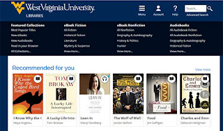 Screenshot of the WVU Libraries Overdrive page