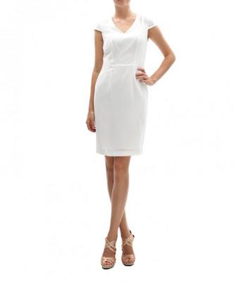 koton beyaz v yaka elbise, kısa elbise, beyaz elbise, klasik kesim elbise modeli 2013