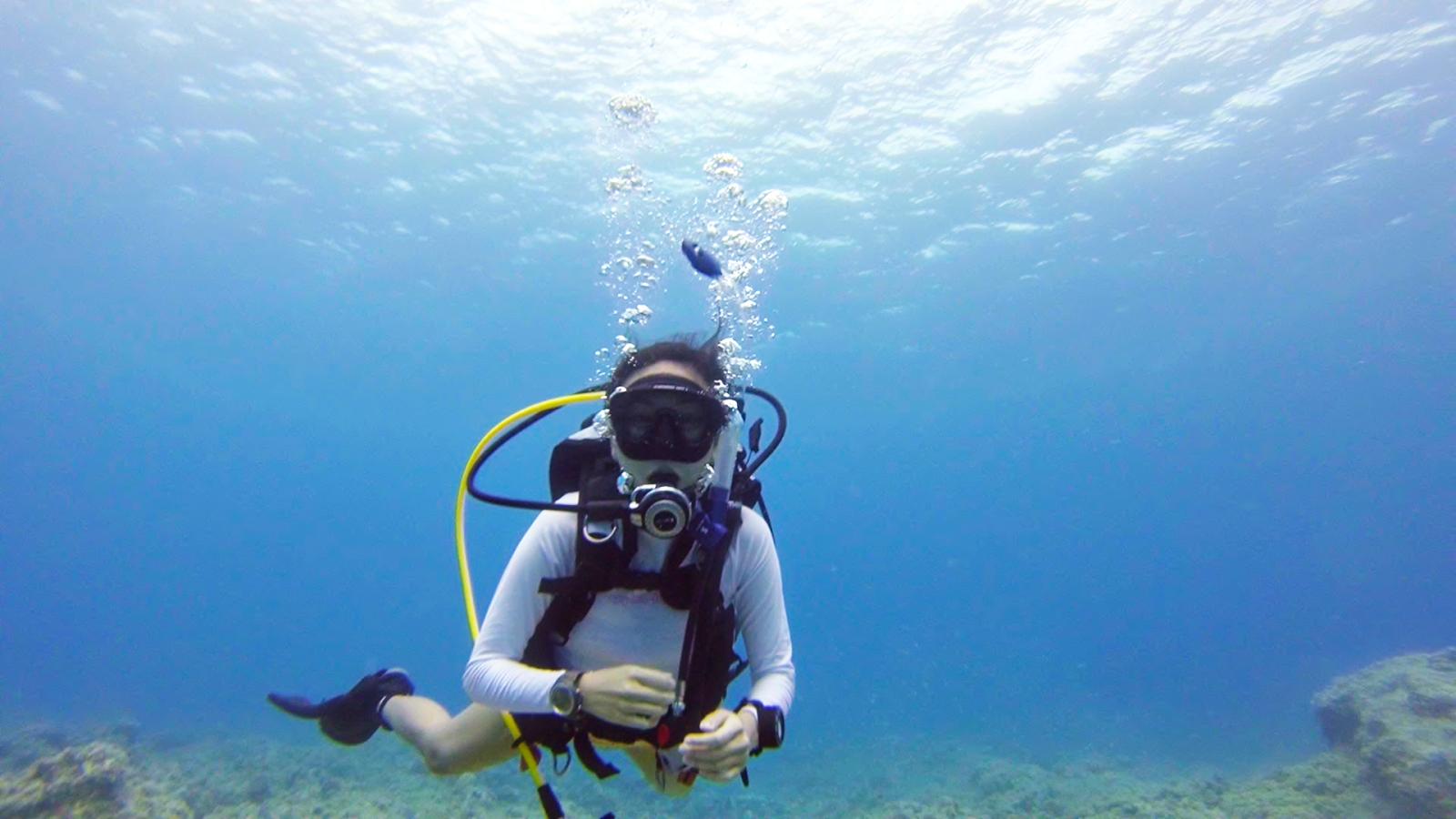 diving at dadi beach, guam