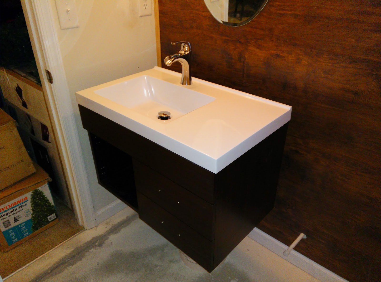 Awesome When the vanity went in being that this space is typically meant for a pedestal sink there wasnt much elbow room next to the toilet