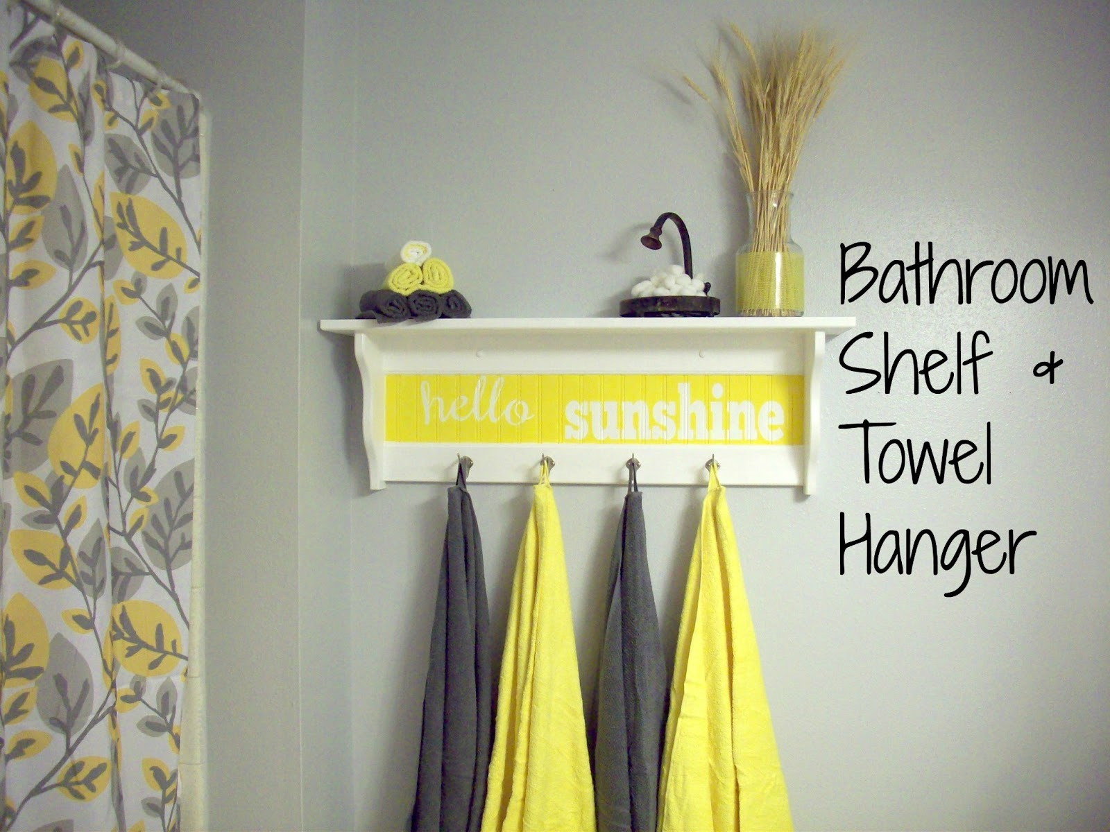 Bathroom makeover food crafts and family for Bathroom decor yellow and gray