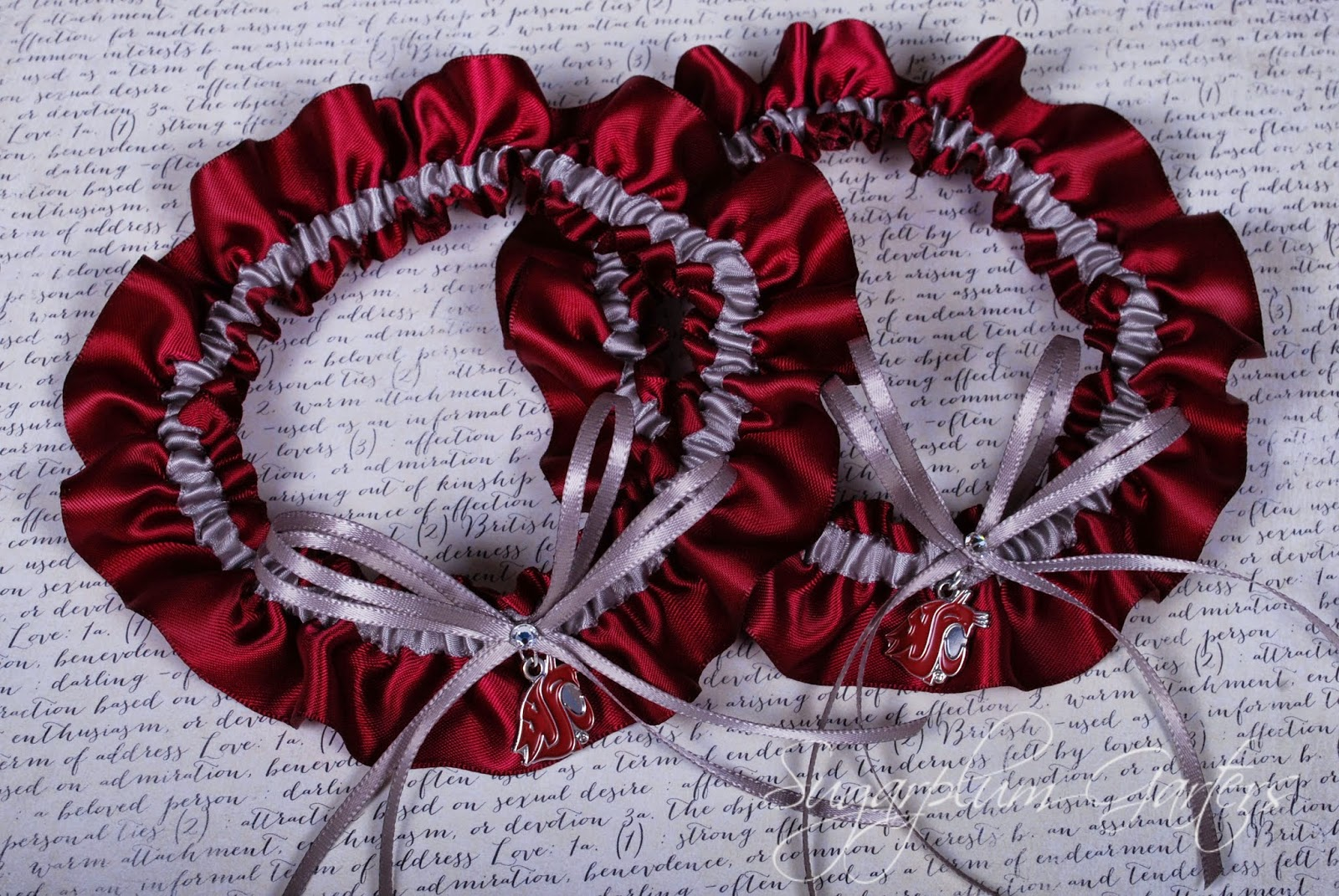 WSU Cougars Wedding Garter Set by Sugarplum Garters