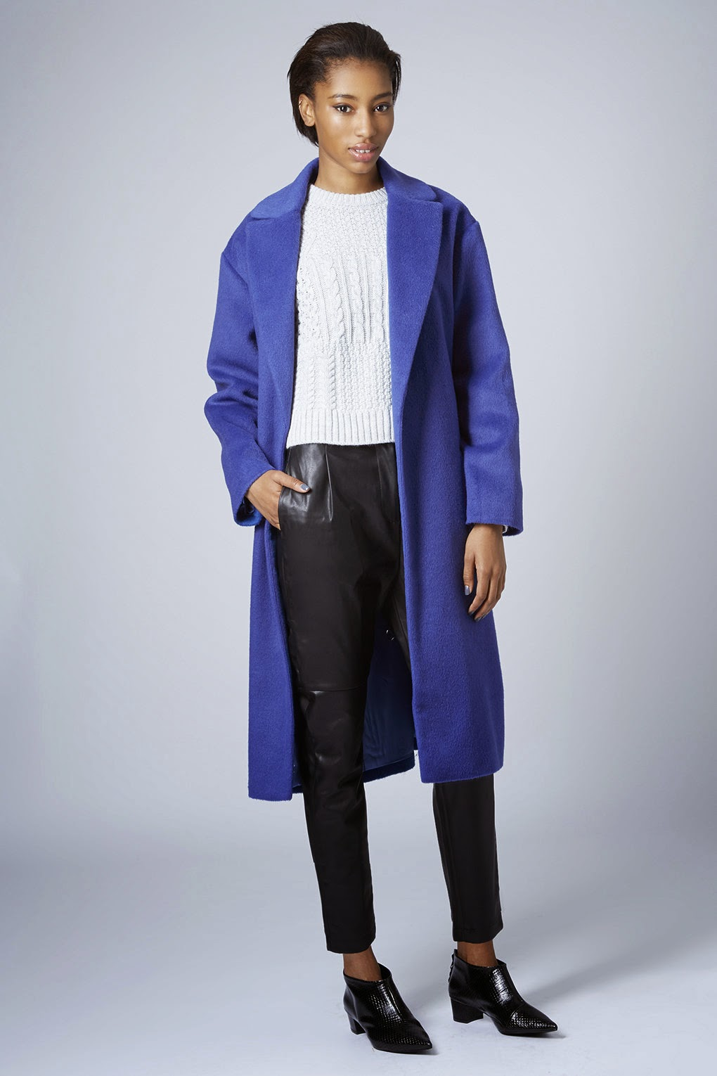 blue topshop wool coat