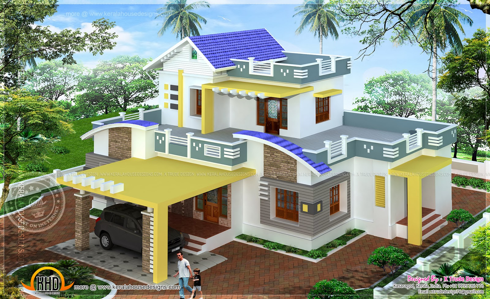 Top Floor Elevation : Square feet modern contemporary elevation kerala