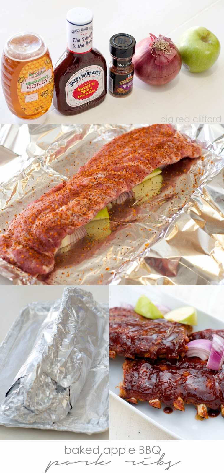 Baked Apple BBQ Pork Ribs | Color Me Meg