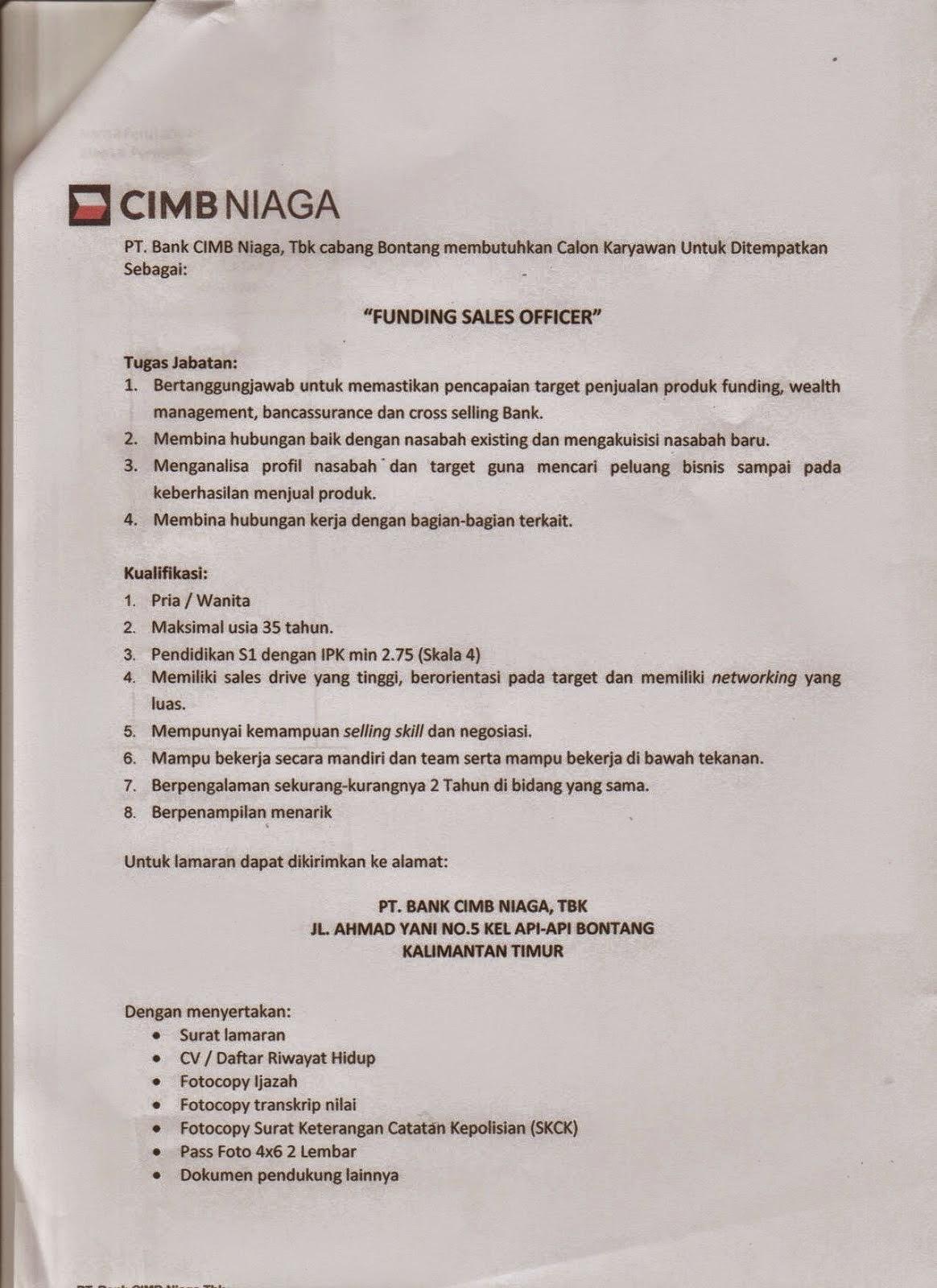 "Lowongan Kerja S1 : ""Funding Sales Officer"" CIMB Niaga Bontang"