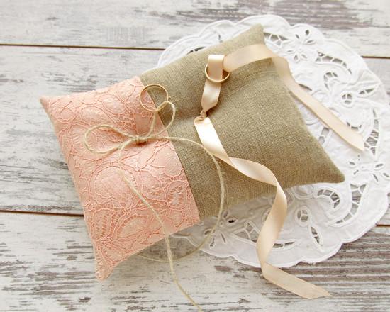 coral bridal pillow, кружевная свадебная подушка