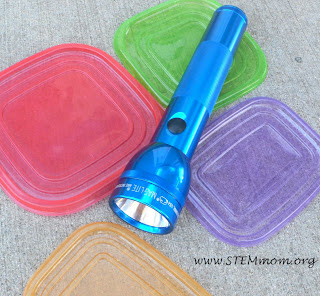 Using Colored plastic lids to create colored light for science experience: from STEMmom