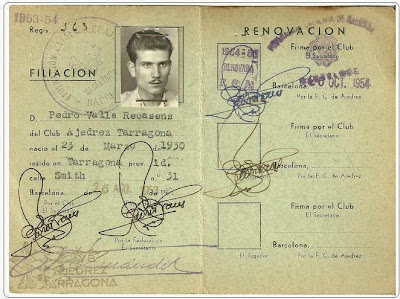 Ficha de la Federación Catalana de Ajedrez de 1953-54 de Pedro Valls Recasens