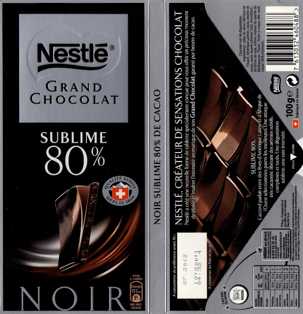tablette de chocolat noir dégustation nestlé grand chocolat sublime 80