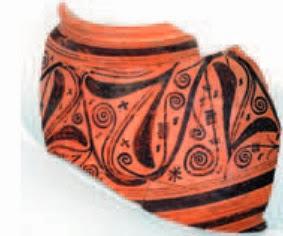 Fragmento de orza ibérica con motivos vegetales entrelazados. La Vispesa