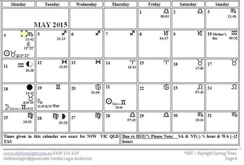 Moon Calendar May 2015