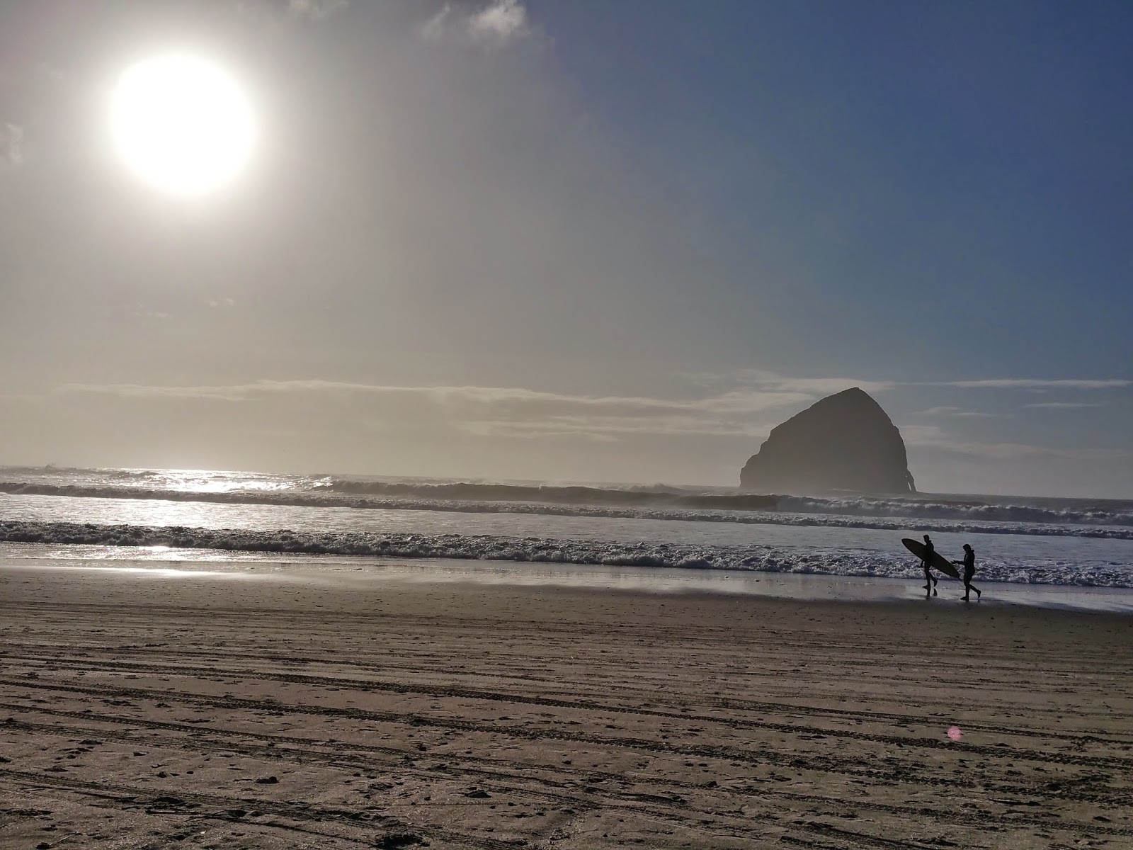 Surfers at Pacific City, Oregon