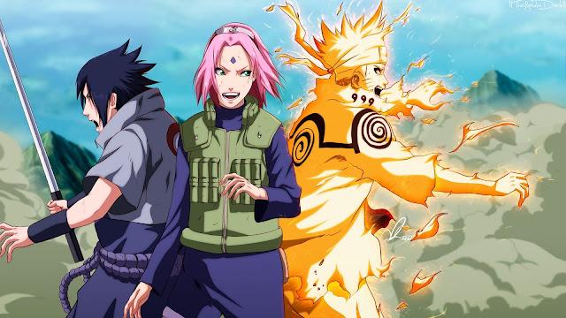 Uzumaki Naruto, Uchiha Sasuke y Haruno Sakura.