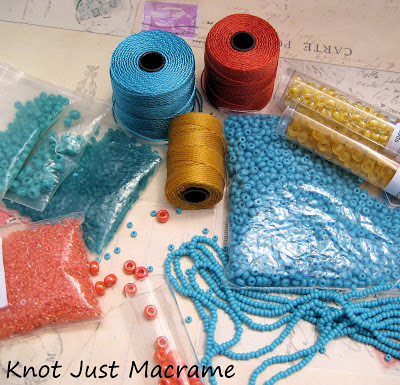 Superlon bead cord and glass seed beads