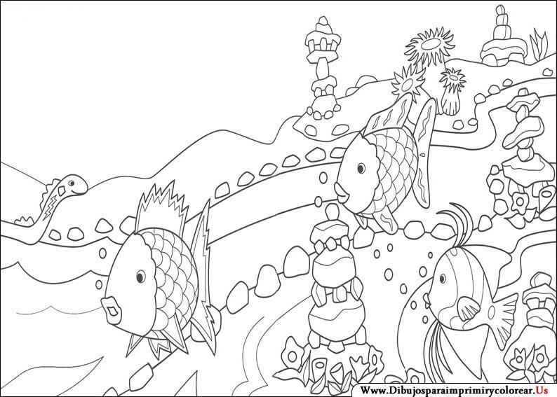 Dibujos pez arcoiris para colorear - Imagui