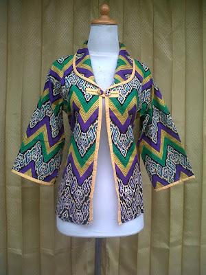 Blazer Batik Wanita Motif Rang Rang Mega Mendung