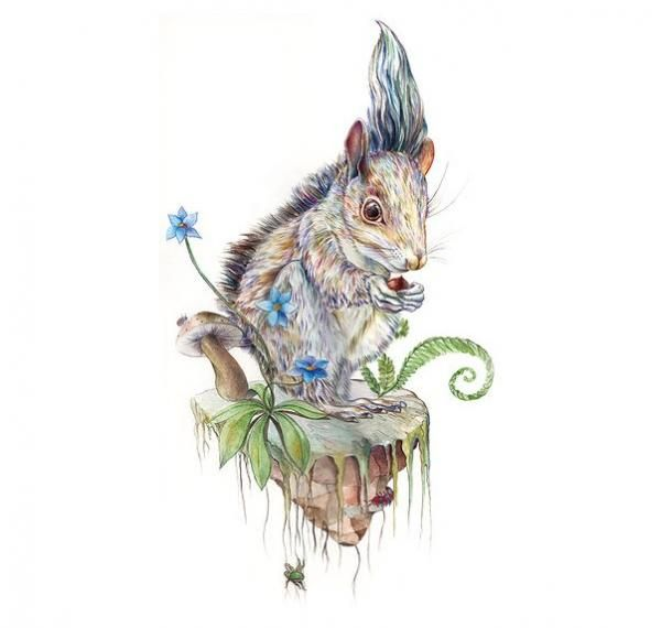 Ilustración de una ardilla