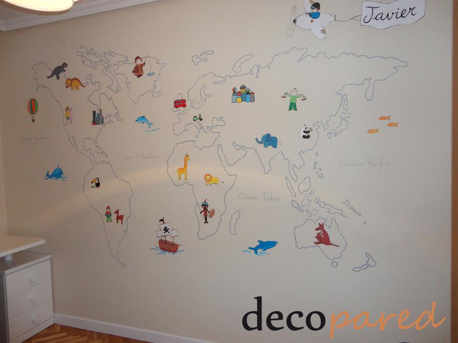 Decopared mural infantil mapamundi 350 madrid - Mural pared infantil ...
