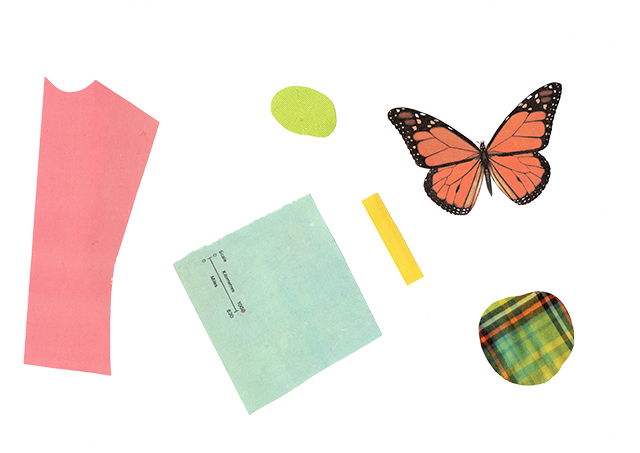 collage pieces for butterfly collaged pattern by laura redburn