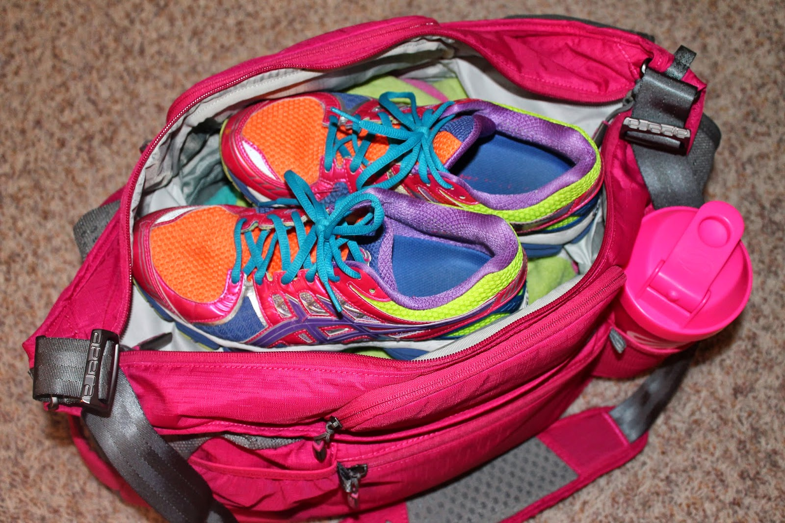 Love How My Shoes Match Bag You Might Also Notice Matching Pink Shaker Bottle There Is Not Just One But Two Water Holders
