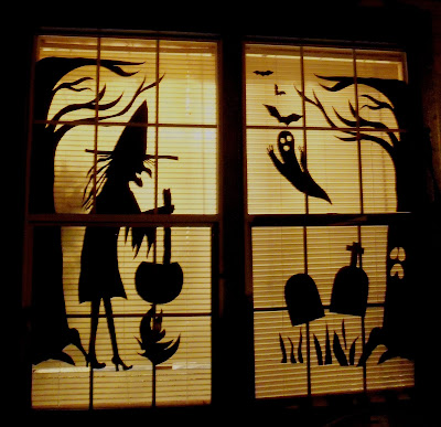 Make the best of things halloween windows from poster board for Halloween window designs