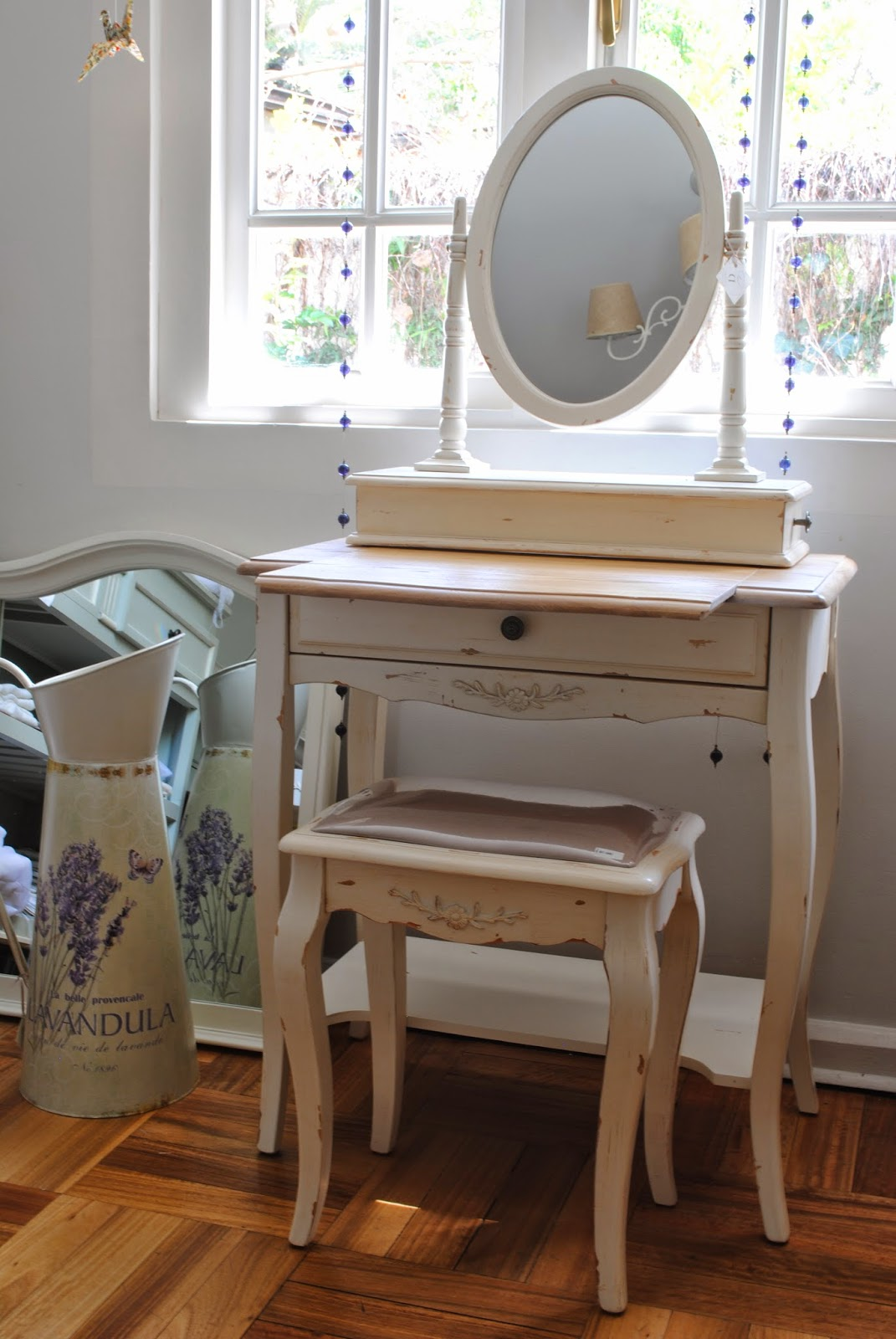 Tocador antiguo blanco entrega rpida antiguo espejo de - Tocador con espejo ...