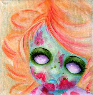 Zombie Cuteness Acrylic Painting