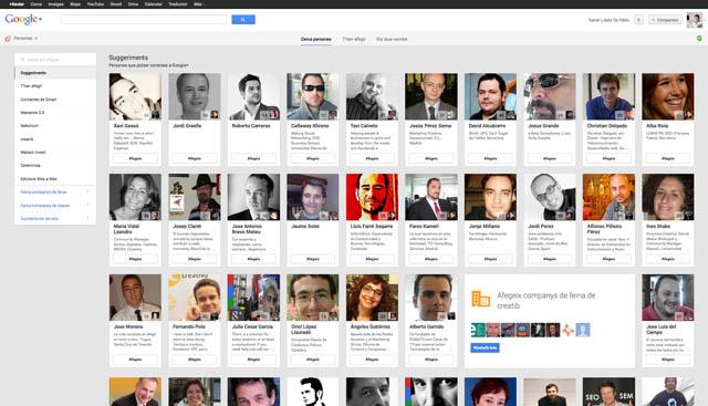 Pantalla Cercle de la Xarxa Social Google Plus
