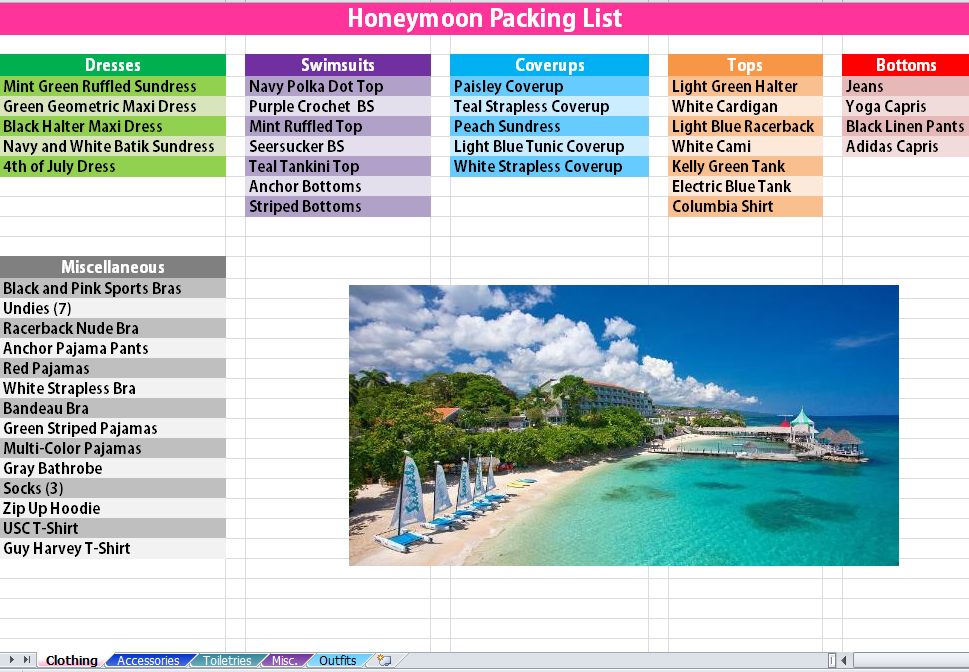 excel packing list