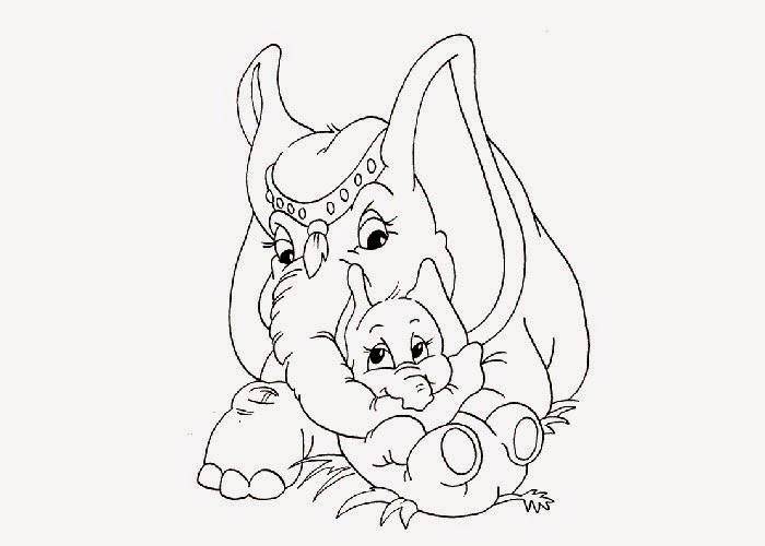 Cute Elephants Coloring Pages