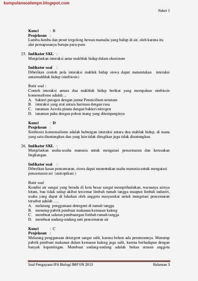 Soal Un Try Out Us Biologi Paket 1 Kelas 9 Smp Ta 2012 2013 Kumpulan Soal Dan Prediksi Ujian