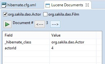 Screenshot of Lucene Documents inspection