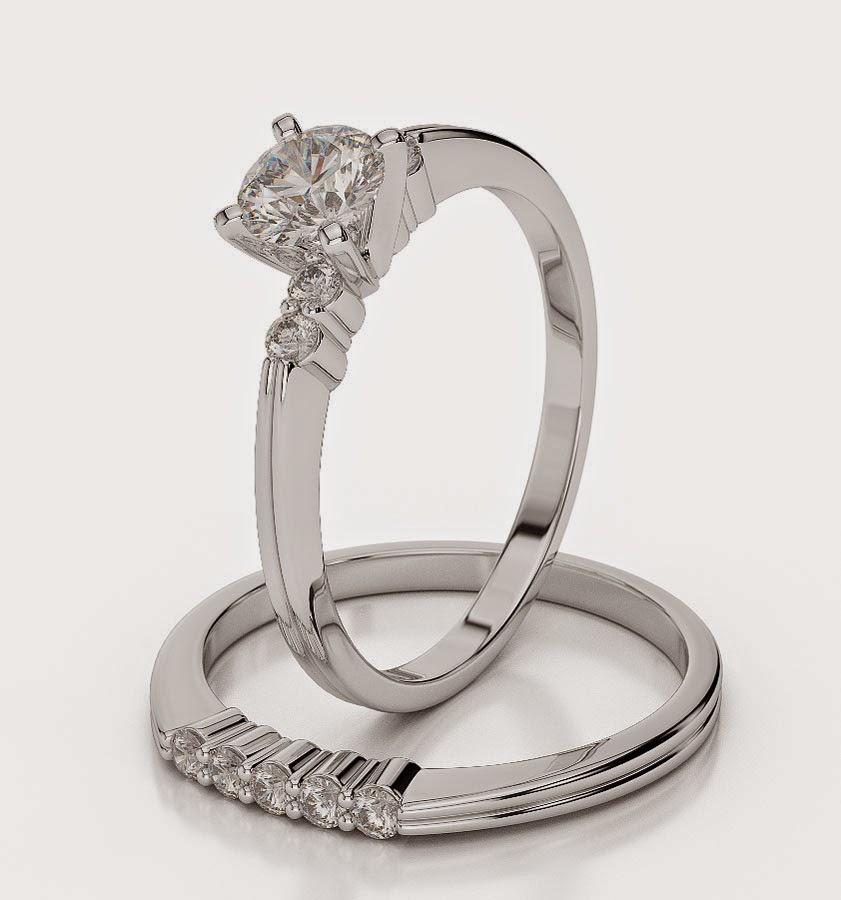 Luxury Diamond Bridal Set Wedding Rings White Gold Images