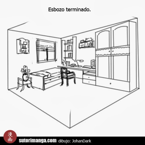 Sutori dibujo de escenarios 7 el dormitorio for Dormitorio para dibujar facil