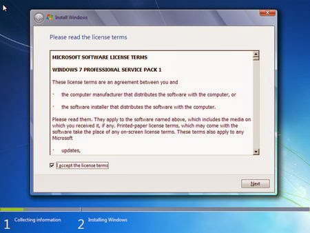 Cara Instal Windows 7 - I accept the license term