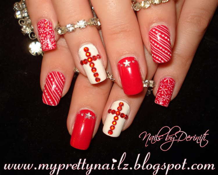 My Pretty Nailz Christmas Nail Art Stamping With Rhinestone Cross