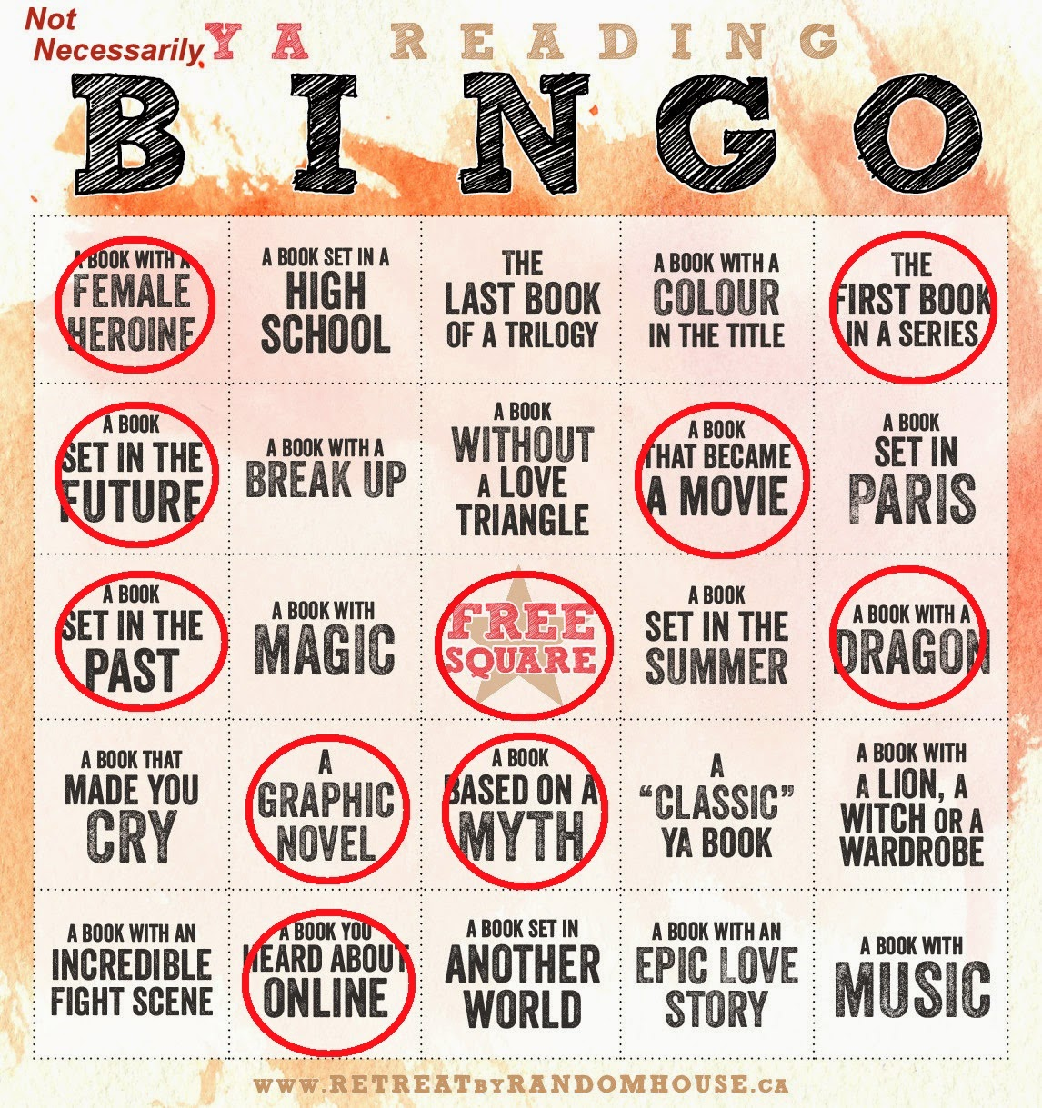 2014 (not really) YA Reading Bingo