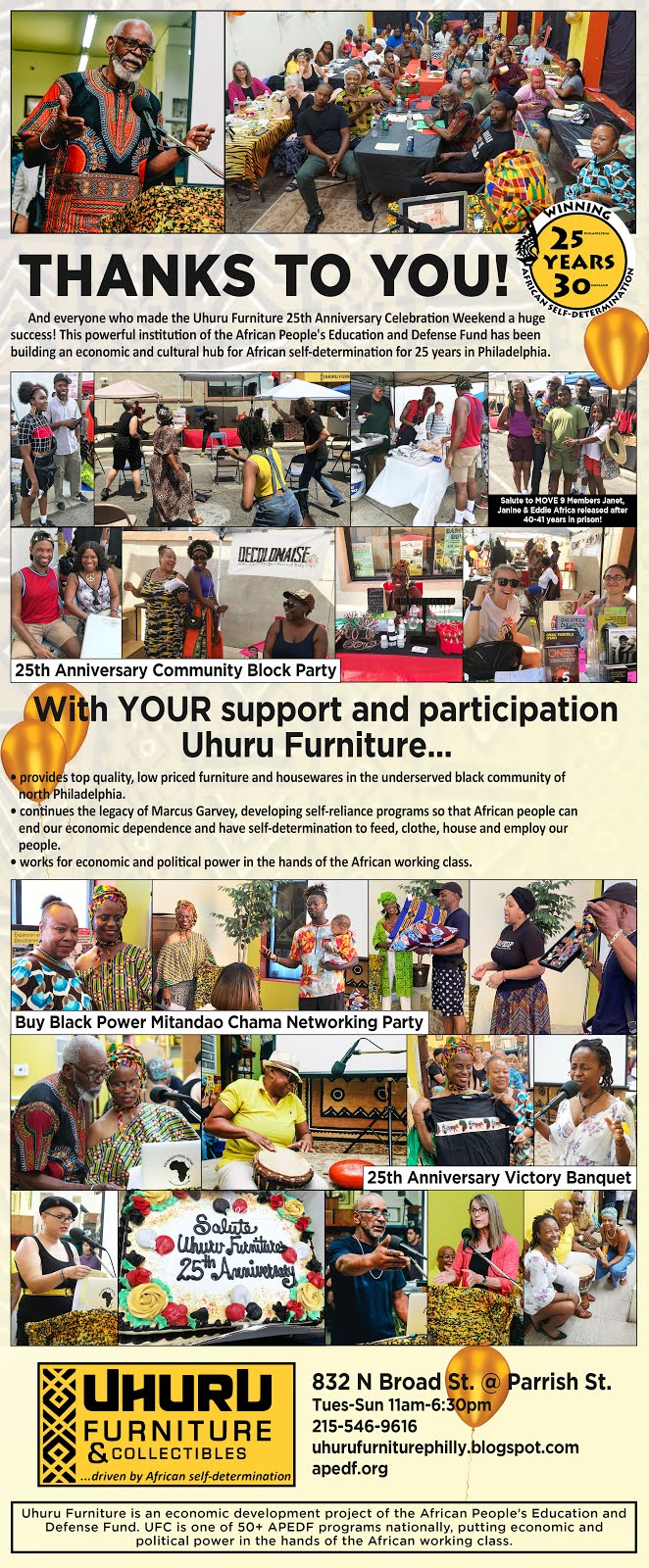 Thank you for 25 years of support for Uhuru Furniture!