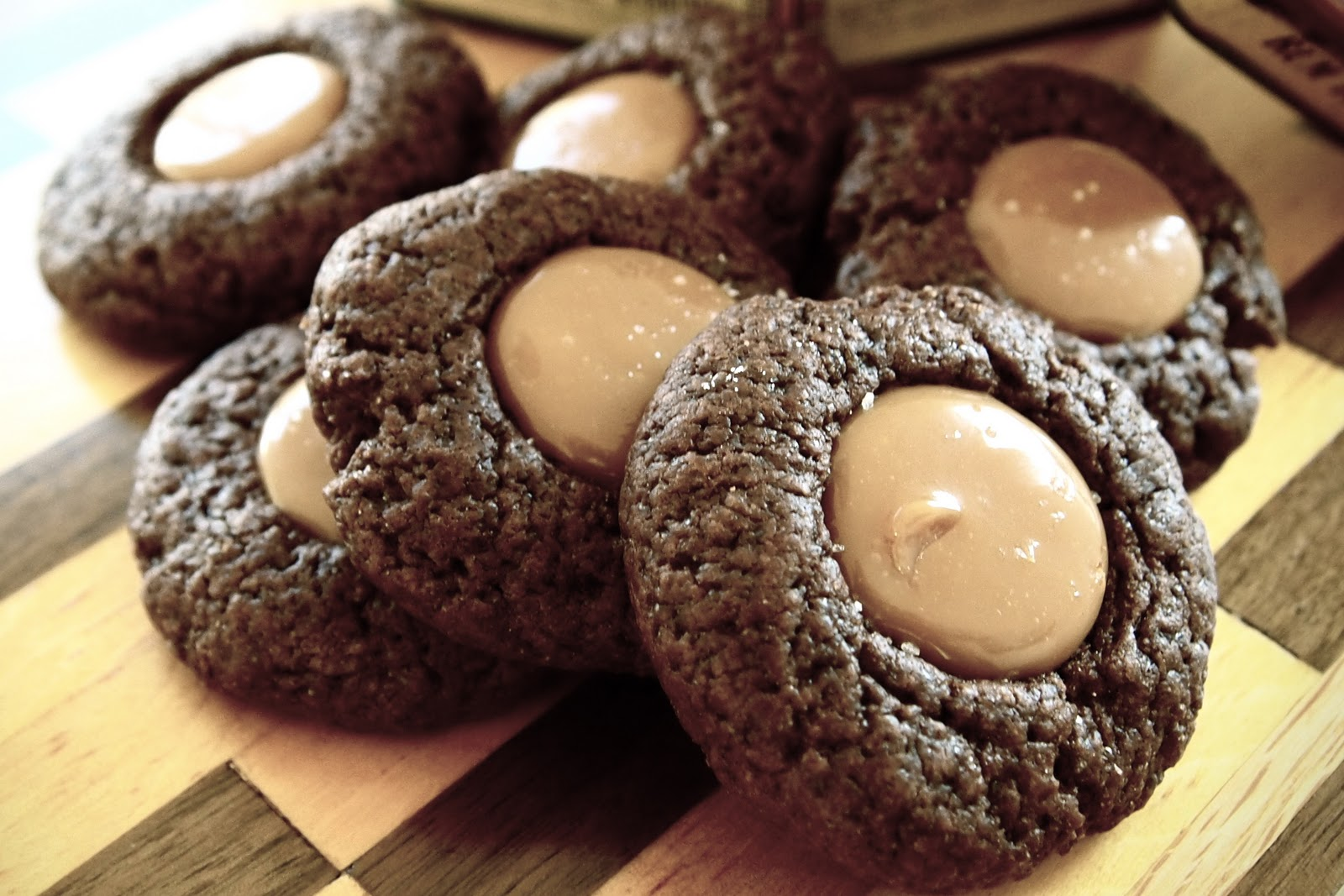 Eggless Chocolate Caramel Thumbprint Cookies