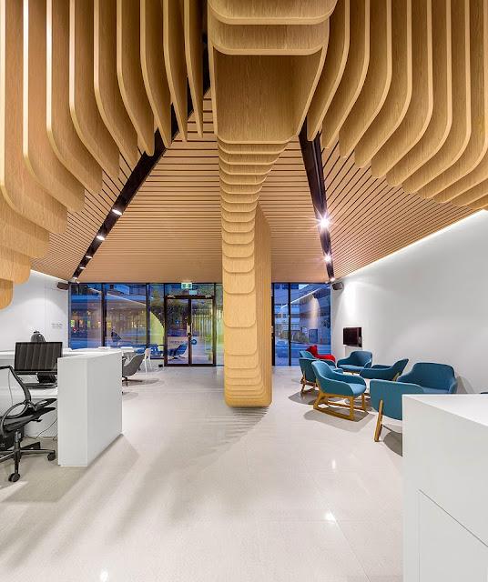 Diseño con ritmo en madera para una clínica dental|Espacios en madera