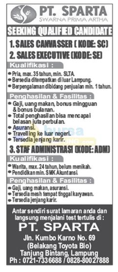 Lowongan Kerja Lampung, minggu 2 November 2014 di - Recruitment PT.SPARTA Lampung