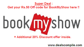 BookMyShow Rs. 50 off + 20% off