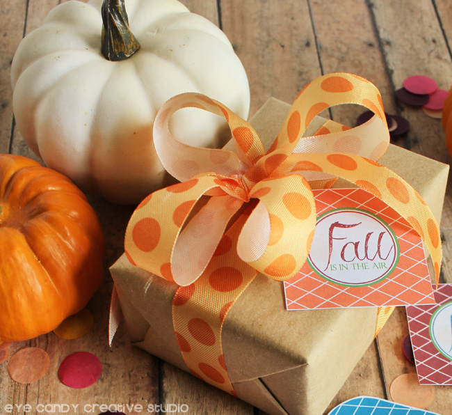 polka dot ribbon, kraft gift wrap, pumpkins, fall gift tags, orange ribbon