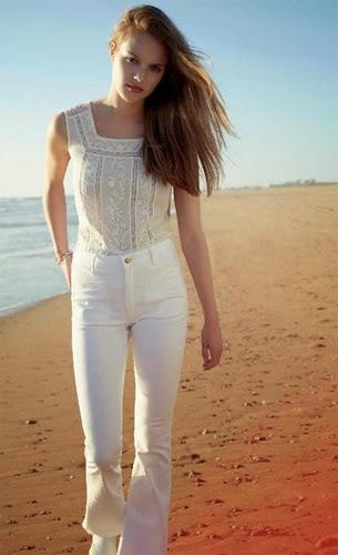 moda joven verano blusa pantalón campana color blanco Formula Joven El Corte Inglés