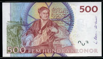 Sweden Currency 500 Swedish Kronor Krona banknote money