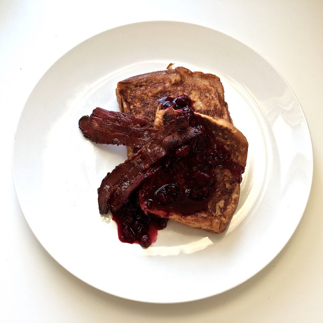 brioche french toast with blueberry compote and crispy bacon