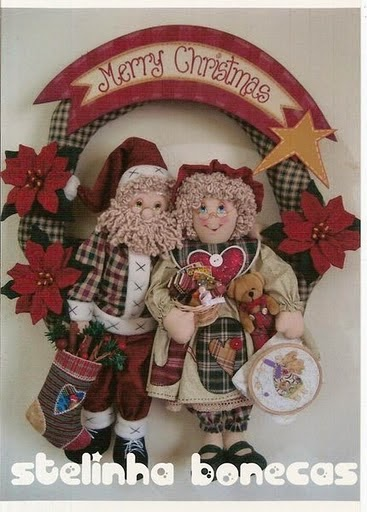 Moldes guirlanda com bonecos natalinos