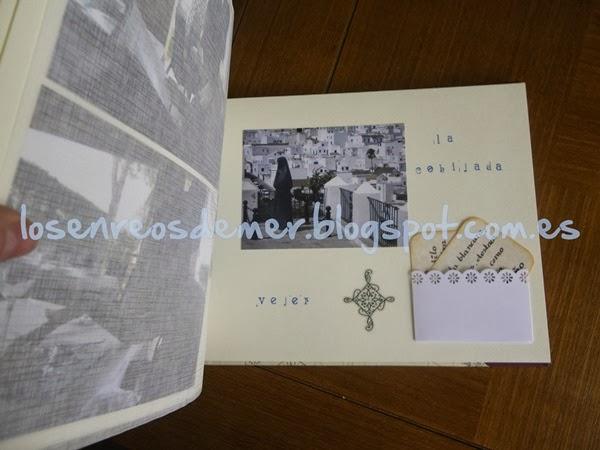 Interior de álbum realizado con la técnica del cartonaje